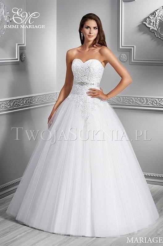 Piękna Biała Suknia ślubna Emmi Mariage R38 Princessa Suknie