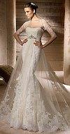 Прозрачное свадебное платье с занавешенной талией.